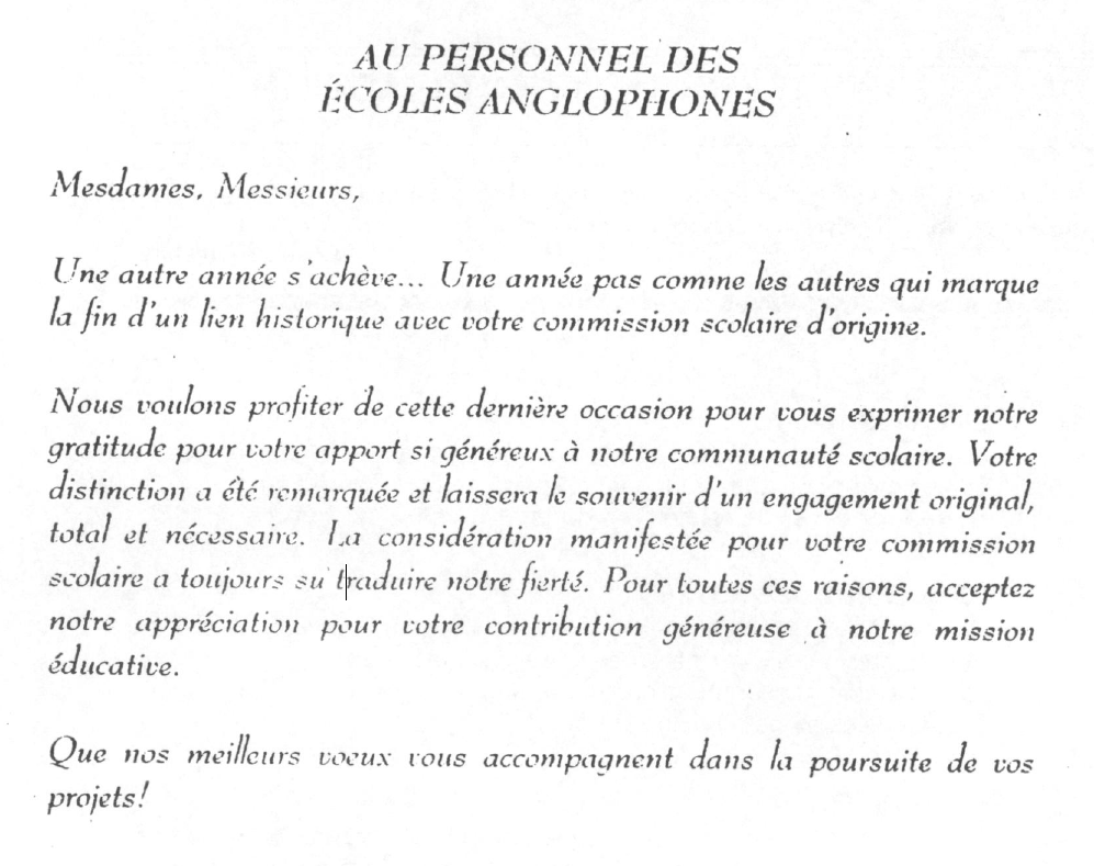 Extrait personnel ecole anglophone