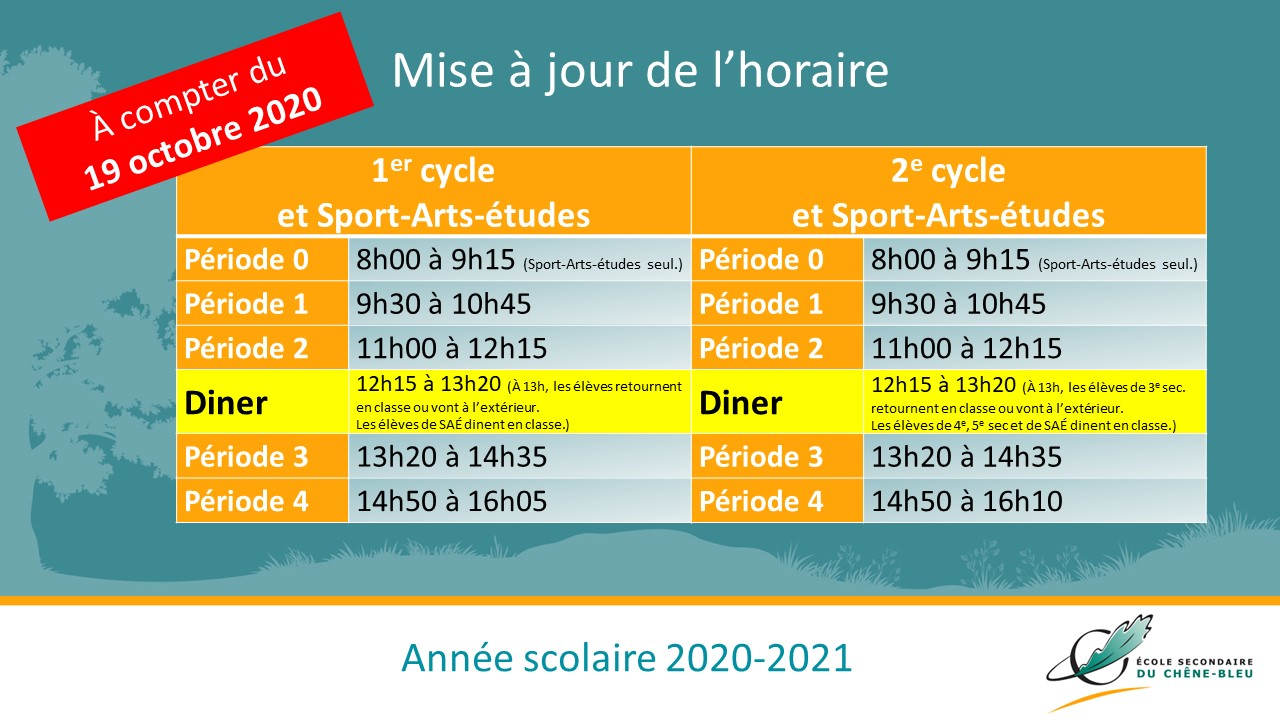 Mise à jour de lhoraire PARENTS